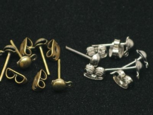 ear stud with loop and butterfly