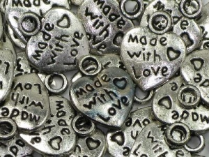 made with love - heart charm