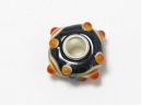 Metal core bead  black with orange eye