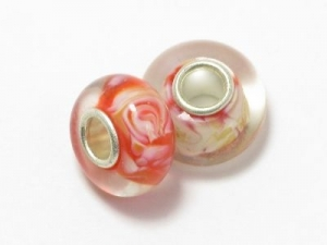 Metal core bead  red with cream swirl