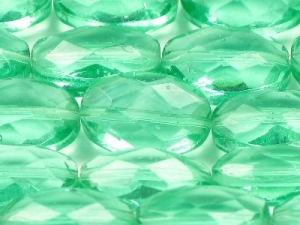 Faceted light green large oval strand