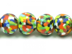 Multi-coloured dots round strand