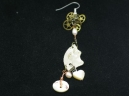 shell heart and button earring