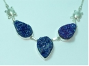 "Sterling Silver Dark blue/purple Druzy necklace with tortoise detail 18"""