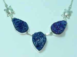 Sterling Silver Dark blue/purple Druzy necklace with tortoise detail 18""