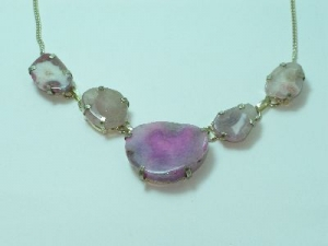 Sterling Silver Pink Quartz necklace 19""
