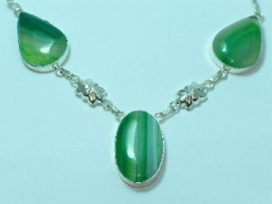 Sterling Silver Green Lace Quartz necklace 19""