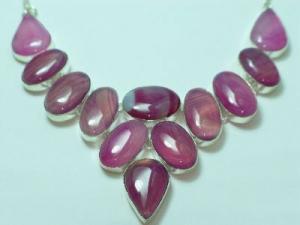 "Sterling Silver Pink Quartz Bib necklace 20"""