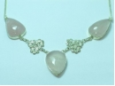 Sterling Silver Rose Quartz necklace with flower detail 19""