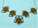 "Sterling Silver Orange Agate necklace 19"""