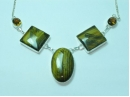 """Sterling Silver Tigers-eye square/oval necklace 19"""""""