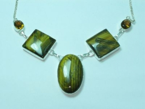 Sterling Silver Tigers-eye square/oval necklace 19""