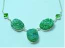 """Sterling Silver Green Druzy necklace 18"""""""