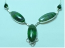 """Sterling Silver Green Lace oval Quartz necklace 20"""""""
