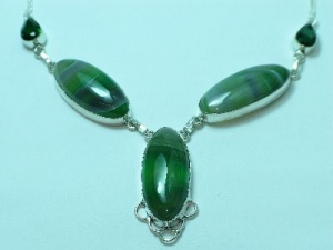 Sterling Silver Green Lace oval Quartz necklace 20""
