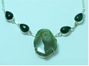 Sterling Silver Green Geode Quartz necklace 19""