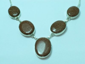 Sterling Silver Goldstone necklace 19""