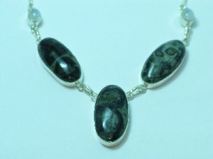 Sterling Silver Kambaba Jasper necklace 19""