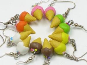 small icecream earrings, silver plated hooks