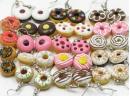 Donut earrings, silver plated hooks