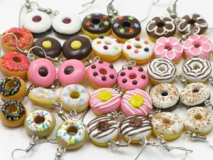Donut earrings, sterling silver hooks