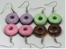 Large donut earrings, silver plated hooks