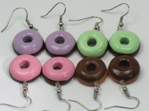 Large donut earrings, sterling silver hooks
