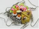 Cake slice earring, sterling silver hooks