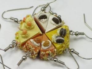 Cake slice earrings, sterling silver hooks