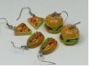 Fast food earrings, silver plated hooks