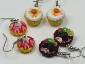 Fruit tart earrings, sterling silver hooks