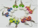 multi-colour mushroom earrings, sterling silver hooks