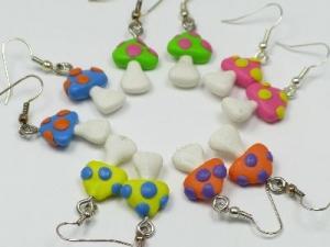 multi-colour mushroom earrings, silver plated hooks
