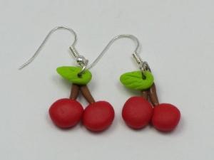 Cherry earrings, silver plated hooks